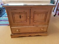 Pine cabinet with glass counter top protector