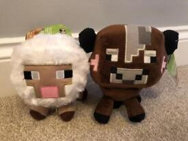 Minecraft plush toys sheep & cow brand new with tags