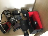 Job lot of old cameras and supper 8s