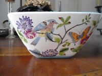 "Square Ceramic Pot With Painted Birds & Flowers, Measures 7"" W x 3.5"" H"