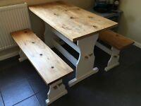 Kitchen Table & Bench Set - Vintage Shabby chic