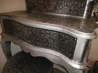 Blackened Silver Embossed Three Piece Baroque - Dressing table, Stool and Side table with drawers