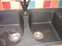 ASTRACAST COMPOSITE KITCHEN SINK...1 and 3/4 bowl Right hand drainer. Mixer tap & waste pipe inc.