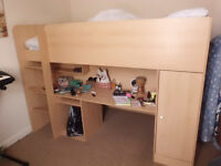 Child's Sleeper Bed (single) 7 years plus - Beech effect MDF with very clean mattress