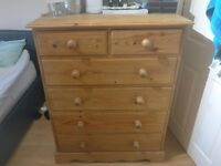 Bedroom furniture - large chest of drawers, bedside table and desk with stool