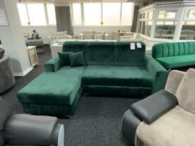 Corner sofa bed in plush velvet mega sale fast delivery only £599 from £829