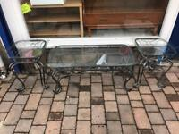 Set Of 3 Coffee Tables w/ Glass Top