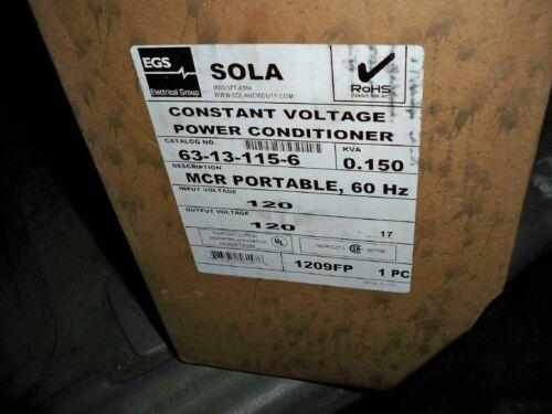 NEW SOLA CONSTANT VOLTAGE POWER CONDITIONER 63-13-115-6  .150 KVA  120 VOLT