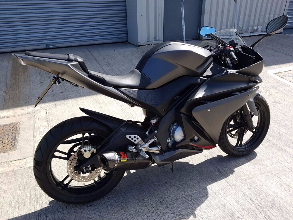 yamaha yzf r125 2013 matt grey carbon exhaust full. Black Bedroom Furniture Sets. Home Design Ideas