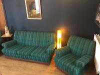 Vintage kitsch cool blue green turquoise 3 piece suite, sofa 2 armchairs