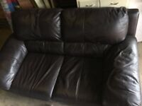 Brown Leather Two Seater Sofas