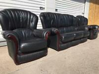 Rossini Italian leather sofa set black soft leather van deliver local 🚛👍🏻😁