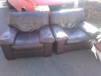 2 big comfy quality brown leather armchairs. FREE DELIVERY