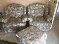 Sofa, 2 arm chairs & pouffe - floral green - reasonable condition (cat not included)