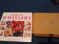 Set of Jewellry Making Beads, step by step Book, wooden box, clasps, and tools