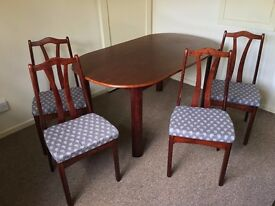 Dining table and four chairs - can deliver 8/9th July (small fee)