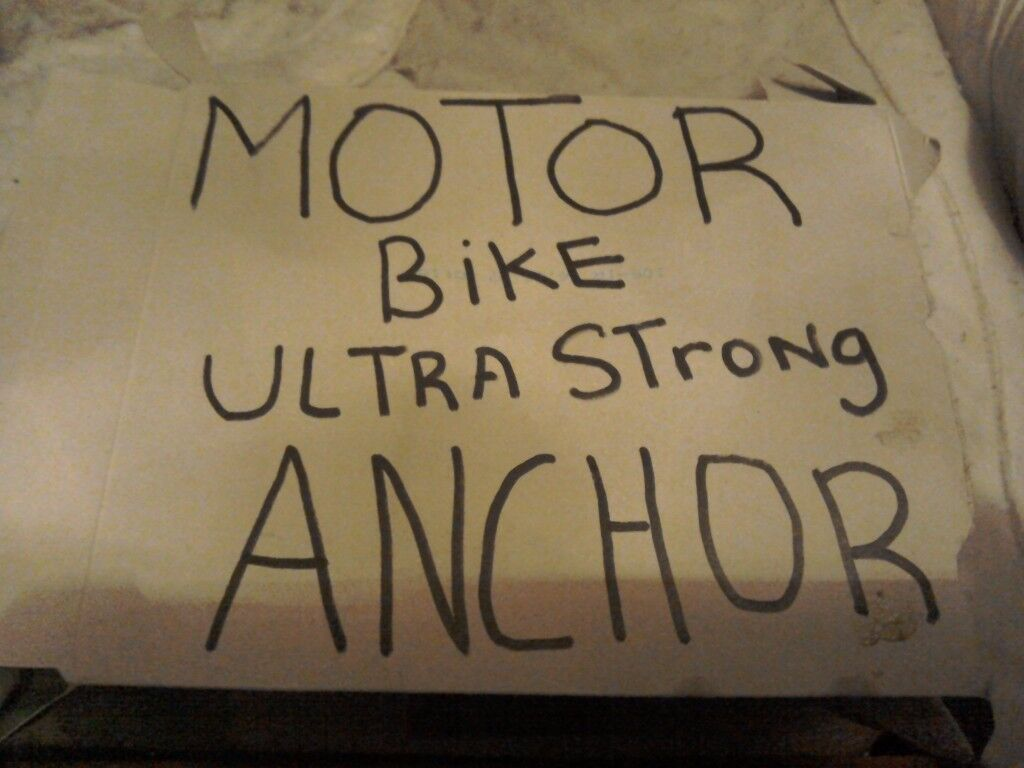 Here is a super strength motorbike anchor ready to use