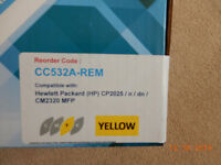 Yellow compatible cartridge laser jet toner for HP model CP2025 etc