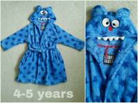 *4-5 years* boys blue hooded monster dressing gown / robe