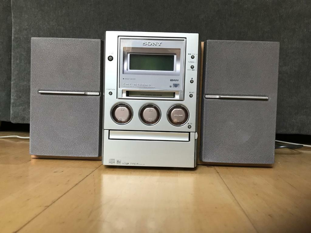 sony hi fi unit music unit with tape cassette cd player mini disc player and radio in. Black Bedroom Furniture Sets. Home Design Ideas