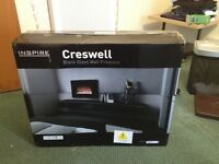 **BOXED AS NEW** Wall Fireplace Fire BLACK GLASS Electric Wall hung / Wall mounted Cresswell