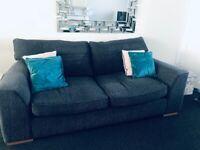 BHS Dark Grey chenille sofas x2,