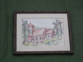 Painting of St Giles Church Farnborough in Glazed Wooden Frame for £5.00