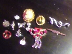 Small selection of charms and brouches