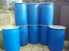 220L Litre Plastic Barrels / Drums with clamp lid
