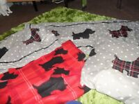 SCOTTIE DOG BED RUNNER, CUSHION AND FLEECE SET