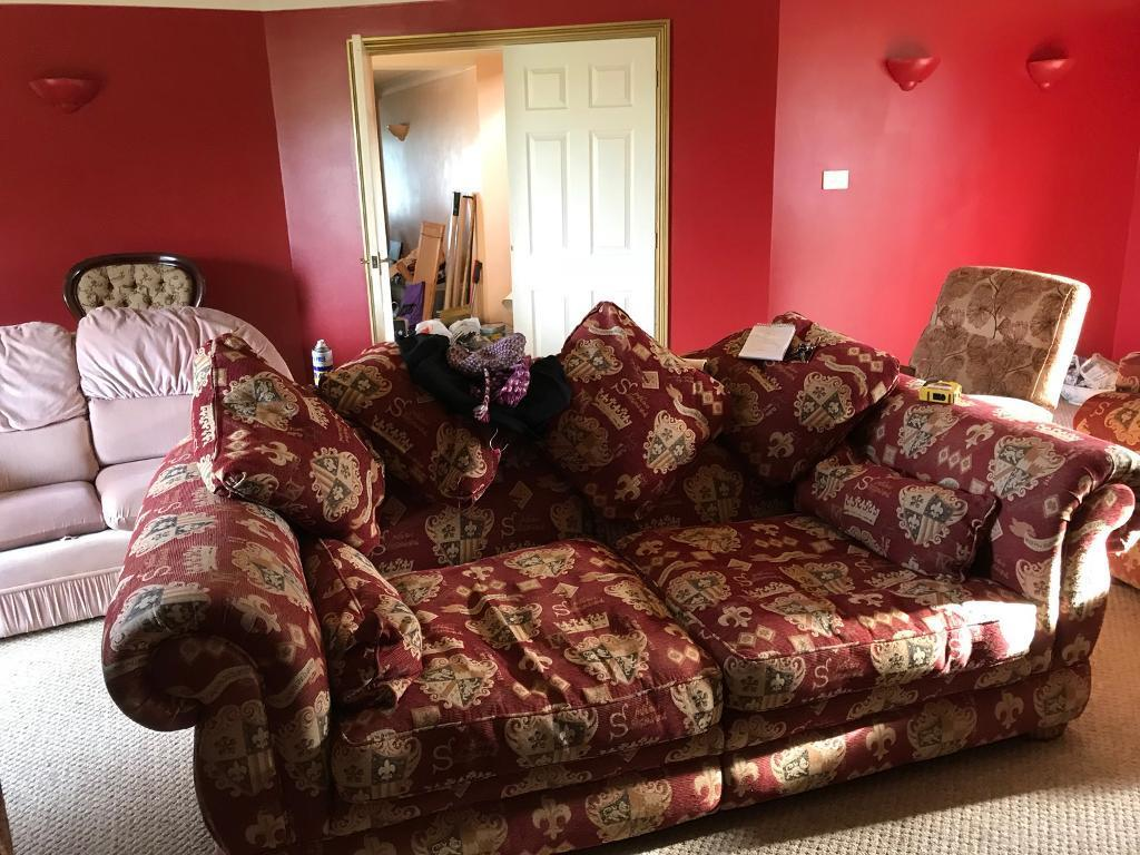 2 sofas, 1 arm chair and foot stoll