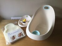 Mothercare baby bath tub with top and tail bowl and foam support
