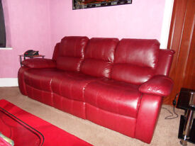 Valencia 3 Seater Bonded Leather Recliner Sofa (burgundy)