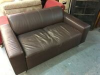 SMALL BROWN LEATHER TWO SEATER