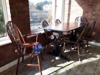 DINING ROOM TABLE + SIX CHAIRS