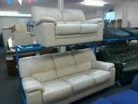2 and 3 seater cream leather sofa #34110 £189
