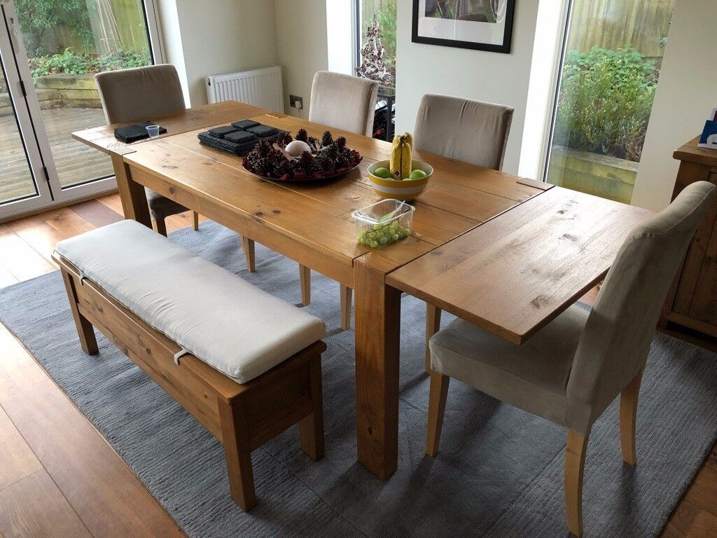 Magnificent Dining Table 4 Chairs And Storage Bench For Sale Next Harvard Style In Poole Dorset Gumtree Caraccident5 Cool Chair Designs And Ideas Caraccident5Info