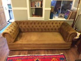 Golden brown cord vintage chesterfield sofa