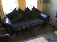 Sofa, 3 seater and 2 seater. Black and charcoal sofas with cushion backs, very good condition