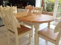 SHABBY CHIC TABLE AND FOUR CHAIRS. CHUNKY HEAVY AND VERY SOLID