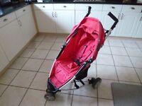 Petite Star Zia pink compact fold buggy/stroller, 3 wheeler