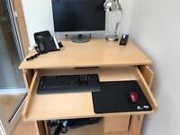 Cabinet/Desk in light oak, lockable