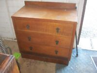 VINTAGE ORNATE SOLID OAK CHEST OF DRAWERS. 3 VERY DEEP STURDY DRAWERS. VIEWING/DELIVERY AVAILABLE