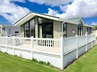 Stunning Lodge For Sale At Whitley Bay - Full Decking On Beautiful Serene Pitch - 16ft Wide