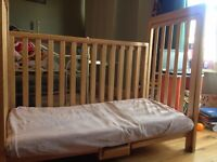 Co sleeper baby bed- lovely wooden cot with sliding side