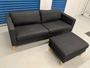 Brand New Dark Gray Denim IKEA KARLSTAD Sofa with Ottoman Footstool. Free Delivery.