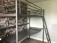 ikea bunk bed with desk and mattress