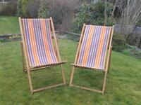 2x Traditional Wooden Deck Chairs