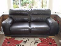 Brown, real leather, 3 seater sofa, very good condition