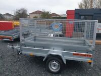 BRAND NEW 8.7x4.2 SINGLE AXLE TRAILER WITH 80CM MESH AND MANUAL TIPPING FEATURE 750KG